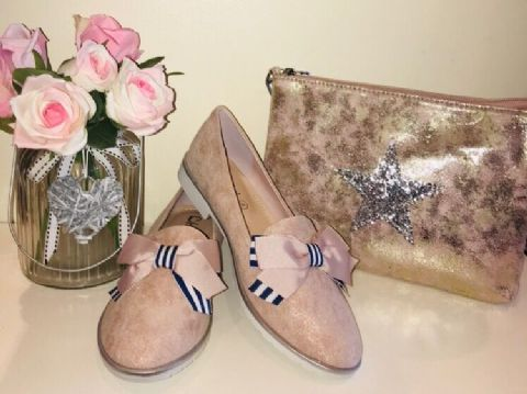 Pink Striped Bow Loafers
